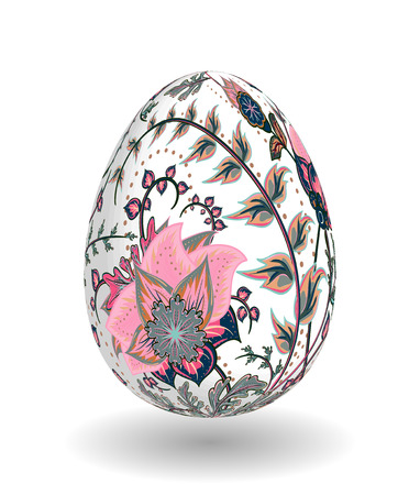 pink brown: Easter Egg with hand draw ornate floral pattern. Realistic eggs. Template for easter greeting card. Pink brown flowers on white egg. Illustration