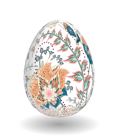 biege: Gold egg with hand draw floral ornate isolated on white background. Fantasy biege blue flowers on white egg.
