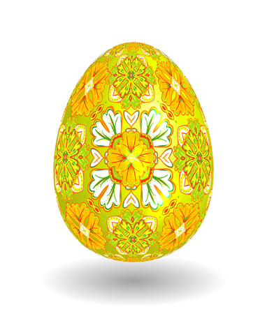 smooth shadow: White Single Vector Easter Egg with Abstract Colorful Pattern - Beautiful Close Up Design with Smooth Shadow on the Ground. Bright yellow ornament on yellow egg.