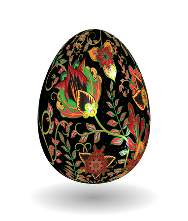 Gold egg with hand draw floral ornate isolated on white background. Fantasy colorful and gold flowers on black egg. Khokhloma. Illustration