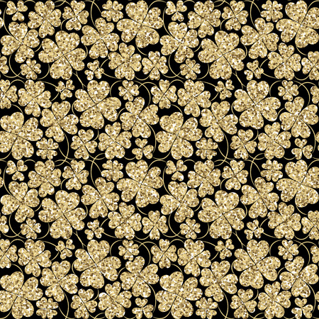 three leaf clover: Trendy glitter gold and black seamless vector pattern with three leaf clover for fabric, cards, invitations, wrapping paper, stationery and web backgrounds