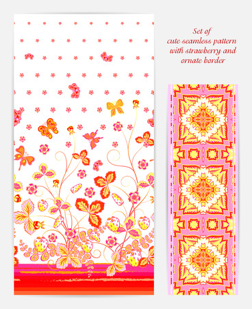 Set of Bright vertical seamless pattern with a orange red strawberry, leaves flowers and butterfly on white background also ornate border (ribbon tape band edging )