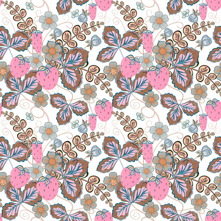 pink brown: Pastel pink brown seamless pattern with a strawberry, leaves and flowers (vector) Illustration