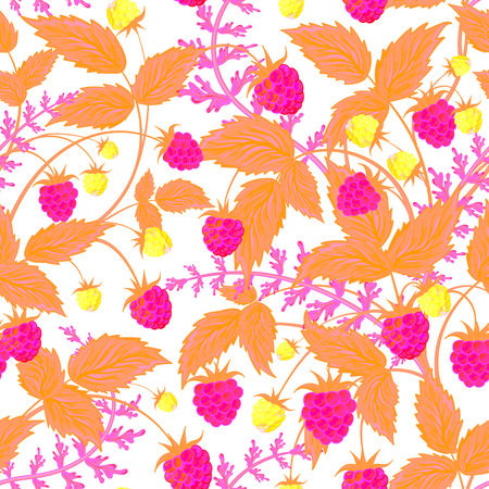 scrap book: Raspberry pattern. Vector doodle seamless pattern with neon pink raspberry for wallpaper, web page background, surface textures, textile, scrap book, design fabric, menu Illustration