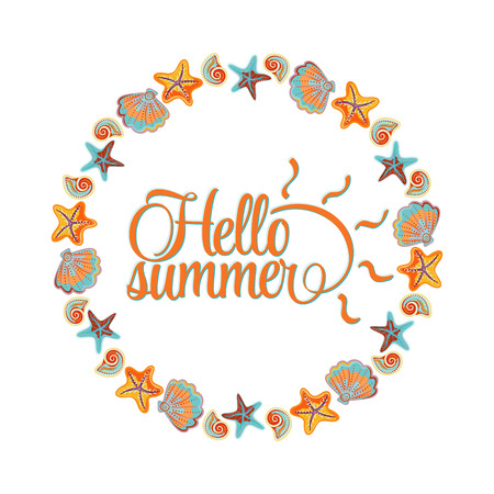 bordering: round ornament made of shells, frame made of shells, marine ornament. Hello summer lettering card. Blue orange colors.