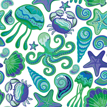 star fish: Colorful under water world wallpaper with crab, octopus, jellyfish, star fish and others