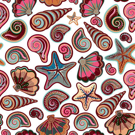 under water: Colorful under water world wallpaper with shells and starfish Illustration