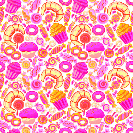 baked goods: Vector food bakery seamless pattern with baked goods. Flour products from pastry shop. Illustration for print, web. Original design element. Neon pink colors.
