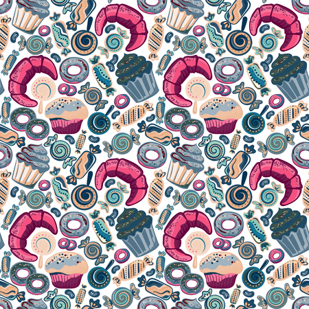 yummy: Yummy colorful sweet lollipop, candy, donuts, cupcake, dessert, croissant, bagel seamless pattern. Vector background.