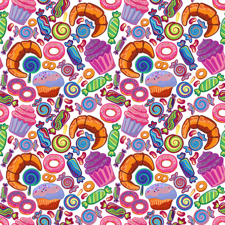 cake stand: Yummy colorful sweet lollipop, candy, donuts, cupcake, dessert, croissant, bagel seamless pattern. Vector background.