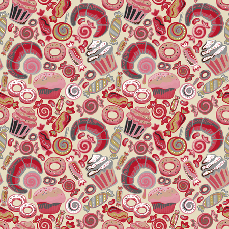 baked goods: Cute seamless pattern with sweets and desserts: lollipop, candy, donuts, cupcake, dessert, croissant, bagel. Doodle style vector. Baked goods, restaurant menu and tea party background.