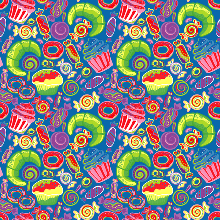 confections: Pastry hand drawn seamless pattern. Doodle collection confections. Colorful background