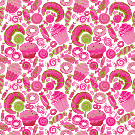 cake stand: Pastry hand drawn seamless pattern. Doodle collection confections. Colorful background