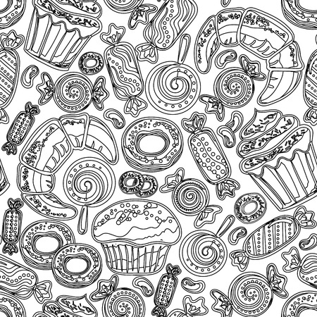 cake stand: Sketch pastry hand drawn seamless pattern. Doodle collection confections. Colorful background Illustration