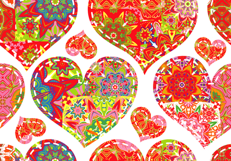 snippet: Seamless pattern with collection colorful red green hearts in vintage patchwork style on white background.