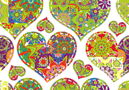 snippet: Seamless pattern with collection colorful blue red green hearts in vintage patchwork style on white background. Illustration