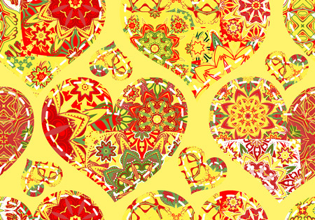 women s day: Seamless pattern with collection colorful red green hearts in vintage patchwork style on yellow background.