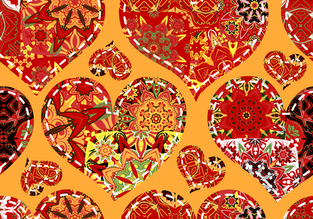 women s day: Seamless pattern with collection colorful red  hearts in vintage patchwork style on orange background.