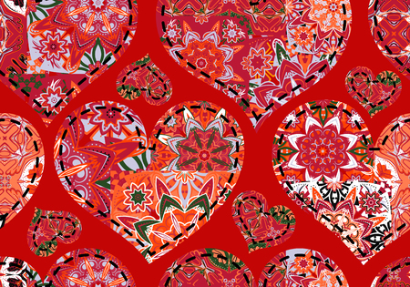 women s day: Seamless Valentines Day pattern with pastel white red  gray patchwork hearts on red background