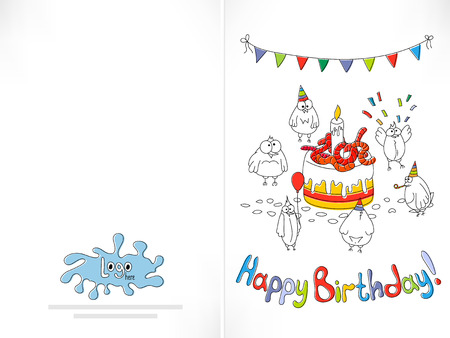 offset printing: Happy birthday card. Cartoon funny bird birds near the cake with worms. Offset printing with displacement inks. Happy birthday background. Stock vector illustration.