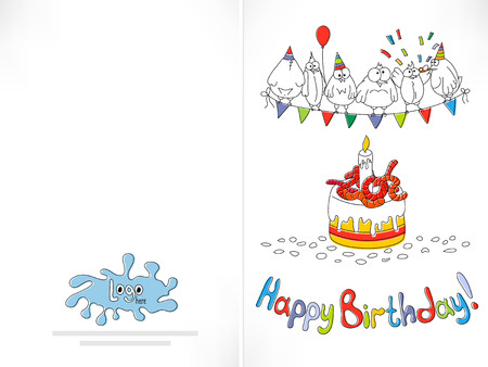 offside: Happy birthday card. Cartoon funny bird on a string. Cake with worms. Offset printing with displacement inks. Happy birthday background. Stock vector illustration. Illustration