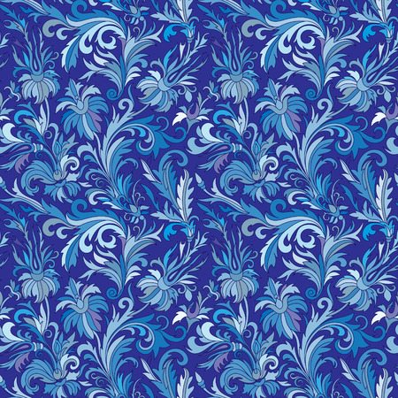 navy blue background: Doodle colorful pastel floral hand draw seamless pattern. Vector illustration. Ornate flowers ornament. Blue tone on navy blue background.