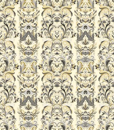 striped wallpaper: Royal striped seamless pattern. Rococo floral wallpaper. Damask background. Gold on black. Illustration