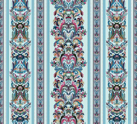 Vintage background Seamless. Royal renaissance rayé papier peint. Vecteur arrière-plan pour le design textile. Fond d'écran, fond, modèle baroque. Pastel ton sur fond bleu clair. Banque d'images - 57039899