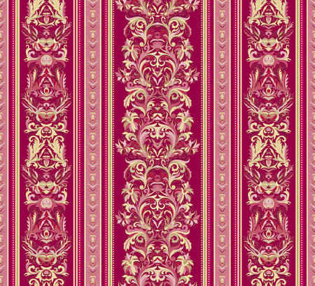 striped wallpaper: Seamless vintage background. Royal renaissance striped wallpaper. Vector background for textile design.  Wallpaper, background, baroque pattern. Gold on vinous backdrop. Illustration