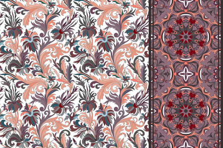 vinous: Seamless floral patterns set. Vintage hand drawing flowers backgrounds and borders. Vector ornaments.