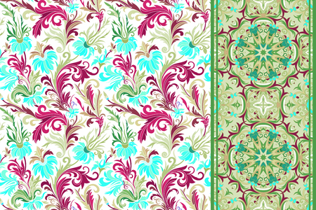 vinous: Seamless floral patterns set. Vintage hand drawing flowers backgrounds and borders. Vector ornaments. Sky blue vinous green tone background. Illustration