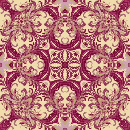 vinous: Baroque style floral wallpaper. Seamless vector pattern. Square tile. Vinous and gold tone.