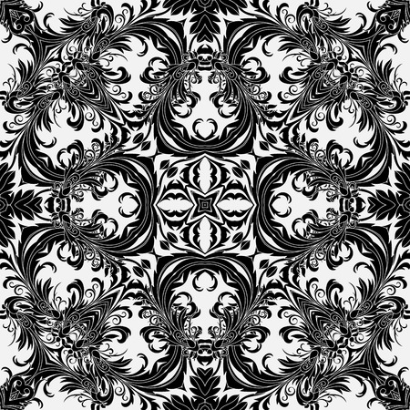 Baroque style floral wallpaper. Seamless vector pattern. Square tile. Blak on white background.