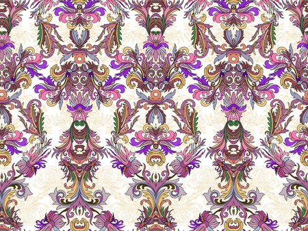 gold leafs: Luxury floral damask wallpaper. Seamless pattern background. Vector illustration. Lilac tone ornate pattern on white backdrop. Illustration