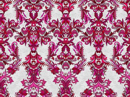 vinous: Luxury floral damask wallpaper. Seamless pattern background. Vector illustration, Bright vinous tone ornate pattern on white backdrop.