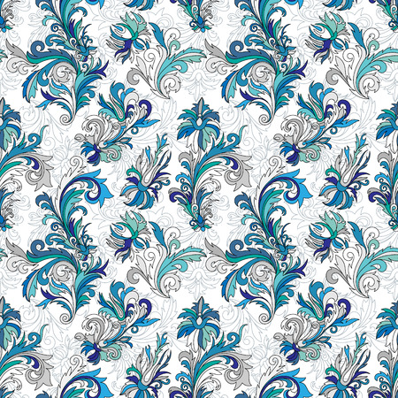 gray pattern: Doodle colorful pastel floral hand draw seamless pattern. Vector illustration. Ornate flowers ornament. Blue gray tone colors on white background. Illustration