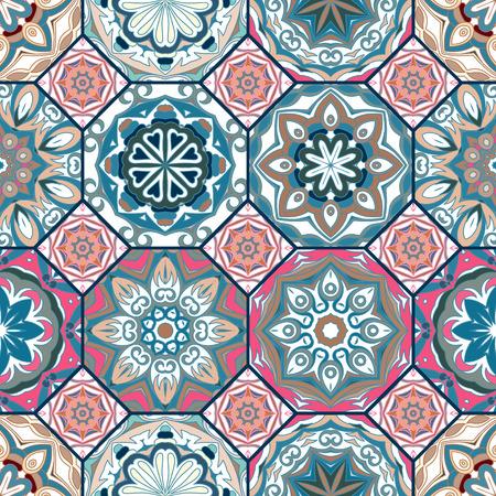화려한 꽃 타일 디자인입니다. 모로코 또는 지중해 팔각형 타일, 종족 장식품. 벽지 인쇄의 경우 패턴 채우기, 웹 페이지 배경, 표면 질감. 블루 핑크 베