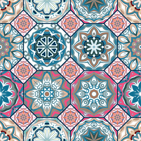 Gorgeous floral tile design. Moroccan or Mediterranean octagon tiles, tribal ornaments. For wallpaper print, pattern fills, web page background, surface textures. Blue pink beige tone.