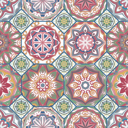 Gorgeous floral tile design. Moroccan or Mediterranean octagon tiles, tribal ornaments. For wallpaper print, pattern fills, web page background, surface textures. Textile pastel colors Vettoriali