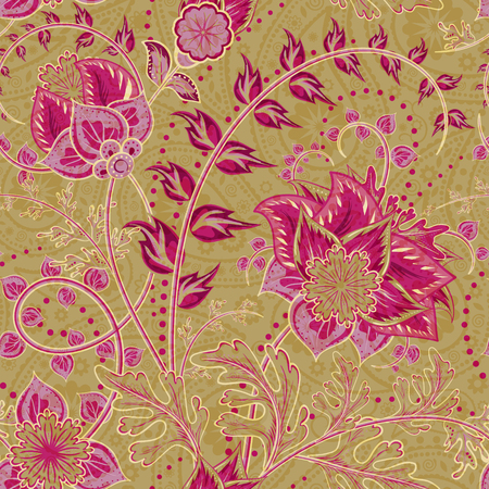 golden daisy: Seamless floral background. Fantasy flowers and paisley mix. Vinous red pink flowers and leafs on golden tone background. Vector illustration. Illustration