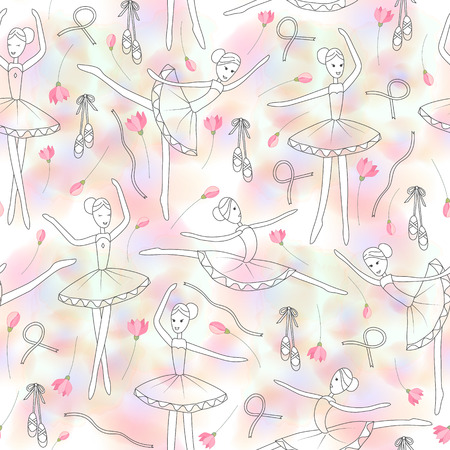 child's drawing: Seamless pattern with dancing ballerinas and delicate rose flowers on a pink watercolor blure background. Vector Vector childs drawing ballerinas