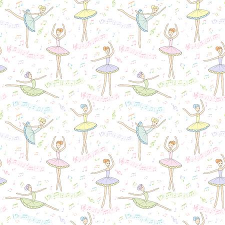 シームレス パターン。白い背景にノートでバレリーナを踊る。ベクター子供のバレリーナを描画します。音楽帳、壁紙、包装紙や他のカバーします