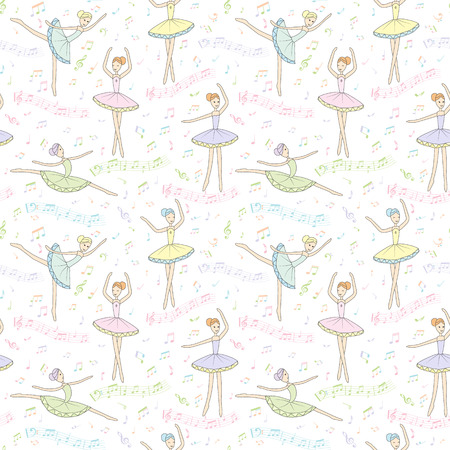 Seamless pattern. Dancing ballerinas with notes on a white background. Vector childs drawing ballerinas. Cover for music book, wallpaper, wrapping paper and other.