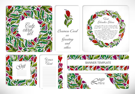 valentin's: Set of creative universal floral cards with doodle flowers pattern. Wedding, anniversary, birthday, Valentins day, party invitations, greeting. Vector. Isolated. Bright colors.