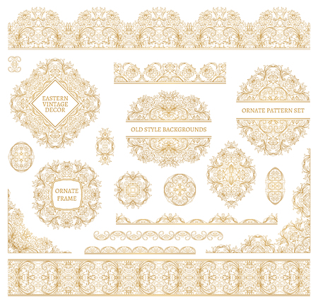 scrollwork: Big vector set of ornate art frames, vignettes and border (strip ribbon band) for design template. Element in Eastern style. Golden outline. Decor for invitations, greeting cards, certificate etc