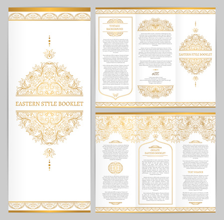invitation frame: Prepared ornate vintage booklet with golden outline decoration in Eastern style. Template frame for brochure, invitation, flyer, page layouts, leaflet, poster. Seamless vector borders.