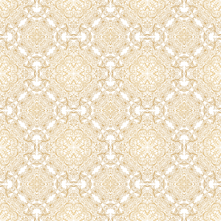 scroll work: Vector seamless pattern with floral ornament. Vintage element for design in Eastern style. Lace golden tracery. Ornate floral decor for wallpaper. Traditional arabic decor on scroll work background.
