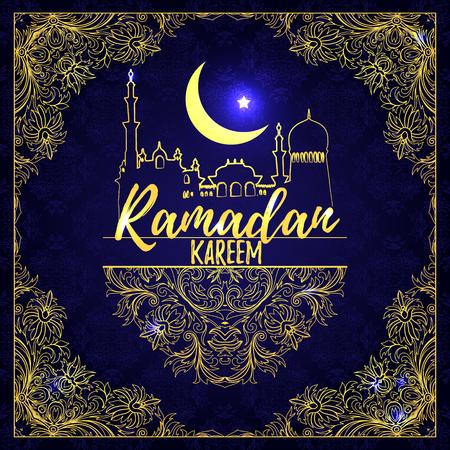 vintage background pattern: Ramadan Kareem. Islamic holiday greeting card. Vector. Golden on dark blue ornate background. Calligraphy. Hand drawn elements. Golden inscription. Arabic style square frame. Illustration