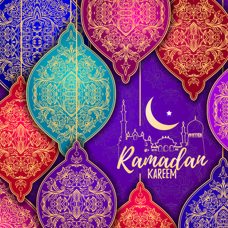 occasion: Beautiful Elegant stylized Ramadan Kareem Lanterns or Fanous Hanging. Colorful greeting card in Islamic Pattern Background for the Holy Month Occasion of fasting. Vector Illustration