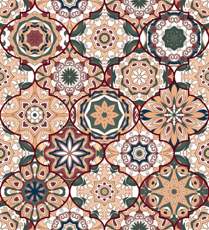 pastel tone: Seamless pattern. Eastern decorative elements. Hand drawn background. Islam, Arabic, Indian, ottoman motifs. Perfect for printing on fabric or paper. Mandala set (within clipping mask) Pastel tone. Illustration